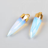 Gold Plated Pencil Point Shape Multi-Kind Stone Faceted Pendant Bead G0621