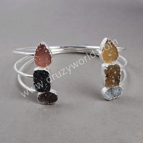 Adjustable Double Druzy Silver plating Bangle Stacking Bangle S0148