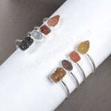 Adjustable Double Druzy Silver plating Bangle Stacking Bangle