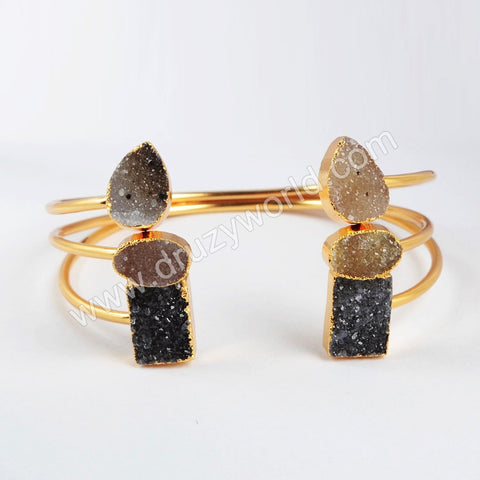 Adjustable Double Druzy gold plating Bangle Stacking Bangle