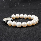 Round Natural Pearl Paved Zircon With Natural White Pearl Beaded Bracelet JAB152