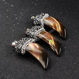 Elephant's Tusk Shape Brown Natural Shell With Zircon Pendant Bead JAB039-1
