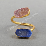 Gold Plated Double Rainbow Agate Druzy Geode Adjustable Ring Oval Arrow Shield Shape
