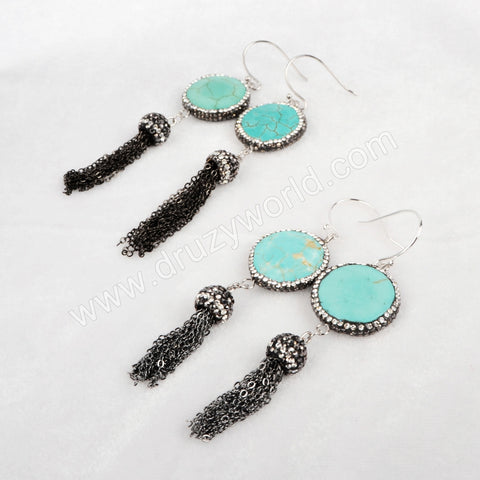 Round Howlite Turquoise Faceted Dangle Earrings Paved Zircon With Black Chain Tassel JAB156