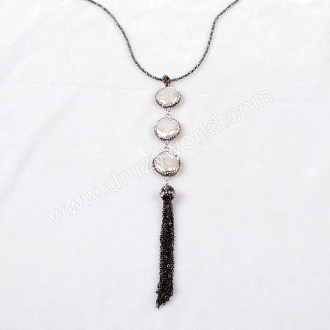 Three Round Natural Pearl Beads Tassel Necklace Paved Zircon Black Gun Beads Chain JAB158