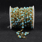 5m/lot,Gold Plated Or Silver Plated Blue&Champagne Quartz Beaded Chains JT066