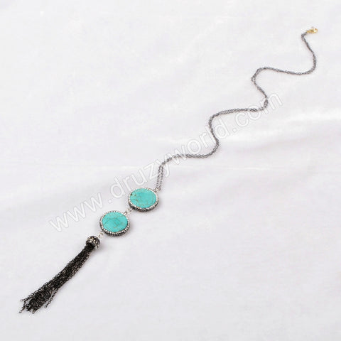Double Round Howlite Turquoise Faceted Beads Tassel Necklace Paved Zircon Black Chain JAB159