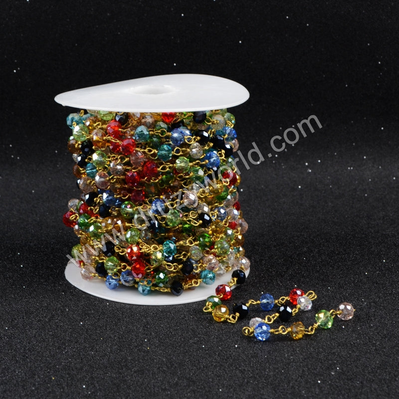5m/lot,Gold Plated Or Silver Plated Rainbow Quartz Beaded Chains JT067