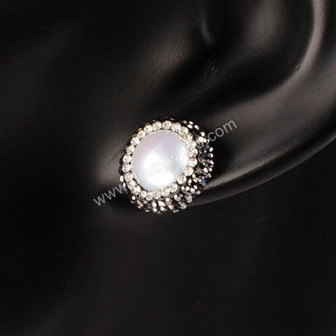 925 Silver Round Natural Pearl Stud Earrings With Zircon Edge JAB046