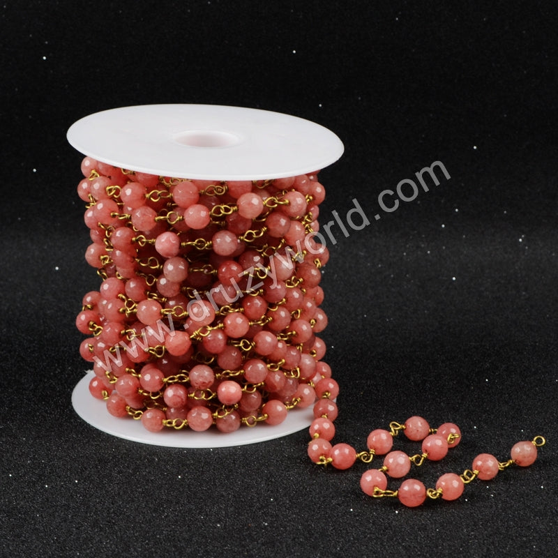 Pink Jade Faceted Beaded Chains