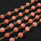 5m/lot,Gold Plated Or Silver Plated Pink Jade Faceted Beaded Chains JT069