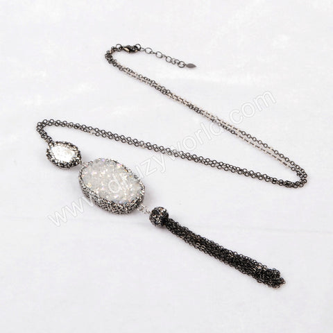 Oval Natural Agate Titanium AB Druzy & Natural Pearl Tassel Necklace Paved Zircon Black Chain JAB161