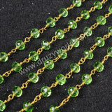 5m/lot,Gold Plated Or Silver Plated Green Jade Quartz Beaded Chains JT027