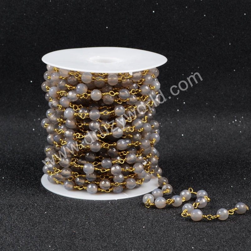 5m/lot,Gold Plated Or Silver Plated Natural Gray Agate Faceted Beaded Chains JT070