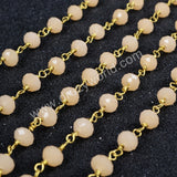 5m/lot,Gold Plated Or Silver Plated Pink Jade Quartz Beaded Chains JT029