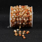 5m/lot,Gold Plated Or Silver Plated Natural Light Red Agate Faceted Beaded Chains JT072