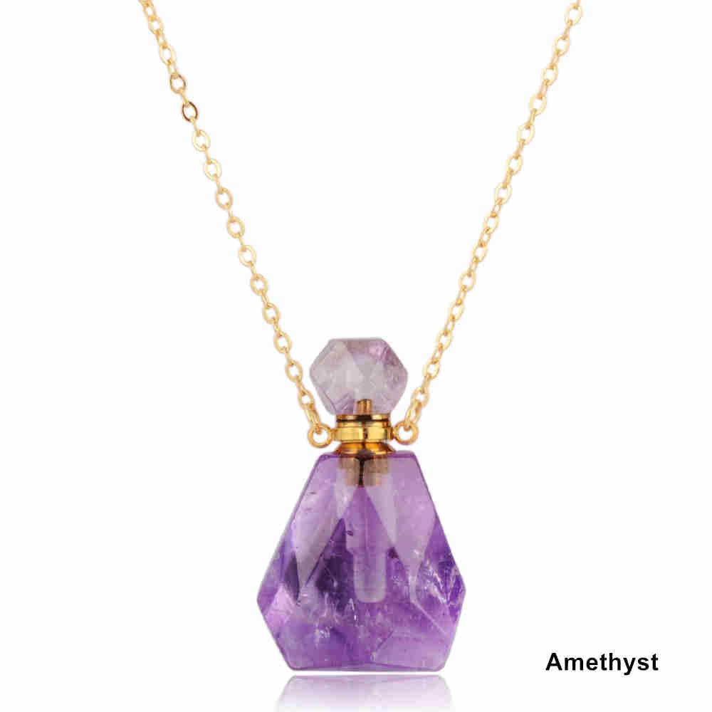 Natural Stone Amethyst Rose Quartz Stainless steel Perfume Bottle Necklace PB001
