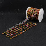 5m/lot,Gold Plated Or Silver Plated Natural Rainbow Fire Agate Faceted Beaded Chains JT073