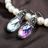 Tear Drop AB Color Crystal Quartz Faceted Earrings With Pink Zircon JAB049