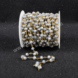 5m/lot,Gold Plated Or Silver Plated Grey Jade Quartz Beaded Chains JT031