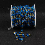 5m/lot,Gold Plated Or Silver Plated Natural Blue Agate Faceted Beaded Chains JT074