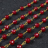 5m/lot,Gold Plated Or Silver Plated Natural Burgundy Color Agate Faceted Beaded Chains JT075