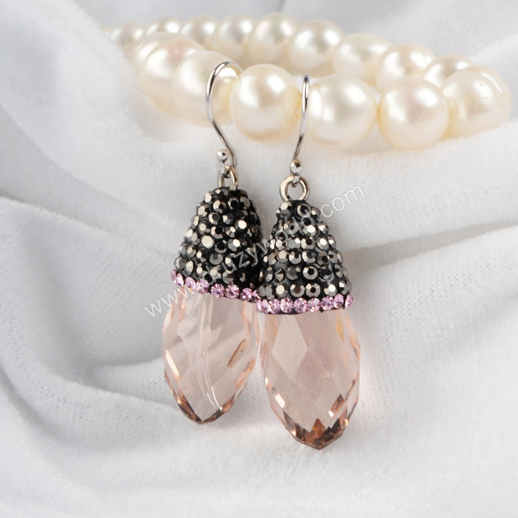 Tear Drop Pink Crystal Quartz Faceted Earrings With Pink Zircon JAB051
