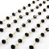 5m/lot,Gold Plated Or Silver Plated Black Jade Quartz Beaded Chains for JT032