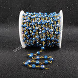 5m/lot,Gold Plated Or Silver Plated Ink Blue Jade Quartz Beaded Chains JT033