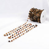 5m/lot,Gold Plated Or Silver Plated Natural Brown Color Agate Faceted Beaded Chains JT077