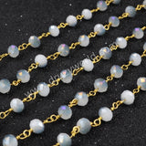 5m/lot,Gold Plated Or Silver Plated Light Purple & White Jade Quartz Beaded Chains JT034