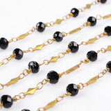 5m/lot,Gold Plated Or Silver Plated Black Round Jade Quartz Facted Beaded Chains JT078