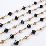 5m/lot,Gold Plated Or Silver Plated Black Jade Quartz Faceted Beaded Chains JT079