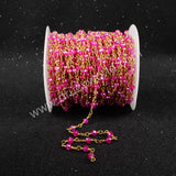 5m/lot,Gold Plated Or Silver Plated Hot Pink Jade Quartz Beaded Chains JT036