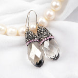 Tear Drop Smoky Crystal Quartz Faceted Earrings With Pink Zircon JAB053