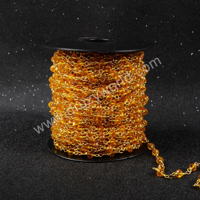 5m/lot,Gold Plated Or Silver Plated Orange Jade Quartz Beaded Chains JT037