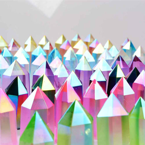Wholesale Beautiful Rainbow Natural Titanium AB Crystal Standing Shiny Aura Quartz Obelisk Healing Point Cabochon Stone Decor Jewelry
