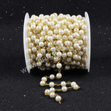5m/lot,Gold Plated Or Silver Plated Imitation White Round Pearl Beads Chains JT083