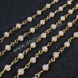 5m/lot,Gold Plated Or Silver Plated Pink Jade Quartz Beaded Chains JT041