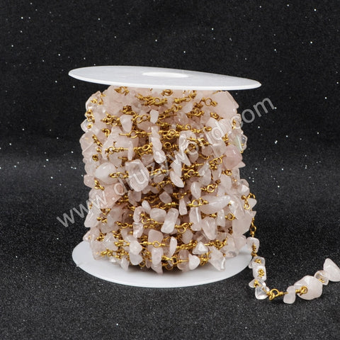 5m/lot,Gold Plated Or Silver Plated Natural Rose Quartz Chips Beaded Chains JT042