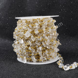 5m/lot,Gold Plated Or Silver Plated Natural White Quartz Chips Beaded Chains JT043