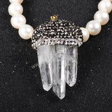 Three Natural White Quartz Crystal Points With Zircon Pendant Bead JAB030