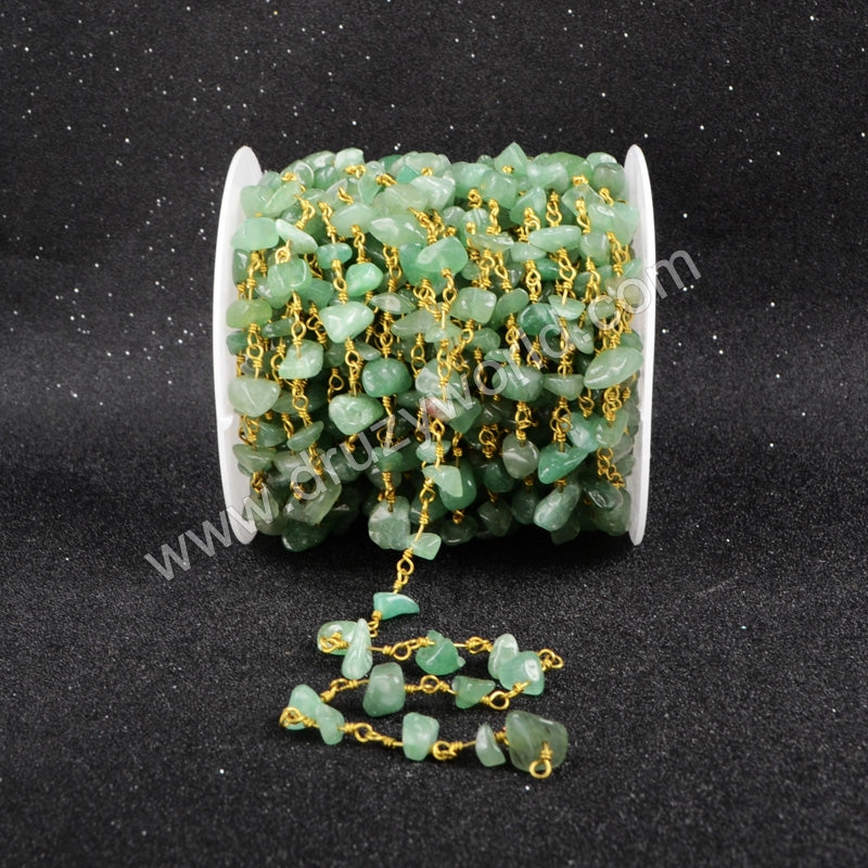 5m/lot,Gold Plated Or Silver Plated Green Aventurine Chips Beaded Chains JT047
