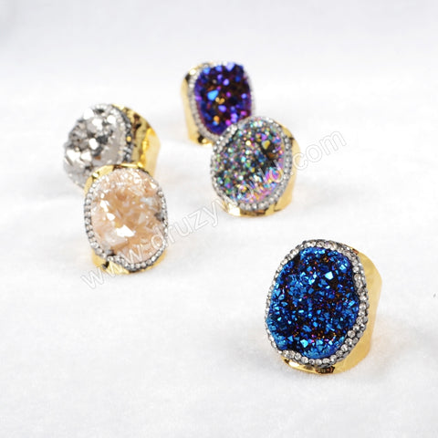 Gold Plated Rainbow Agate Titanium Druzy Quartz Ring Paved Zircon JAB255