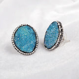 Silver Plated  Colorful Egg Shape Agate Druzy Geode Earrings With Zircon JAB099