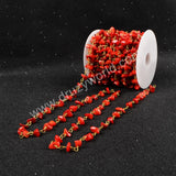 5m/lot,Gold Plated Or Silver Plated Natural Red Coral Chips Beaded Chains JT049