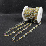 5m/lot,Gold Plated Or Silver Plated Multi-Color Fluorite Chips Beaded Chains JT050
