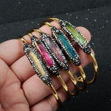 Handcuff Gold Plated Rainbow Aura Quartz Titanium Druzy Bracelet With Zricon JAB100
