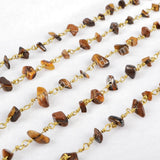 5m/lot,Gold Plated Or Silver Plated Tiger's Eye Chips Beaded Chains JT054