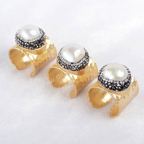 Gold Plated Natural White Pearl Paved Zircon Band Ring Cuff JAB181